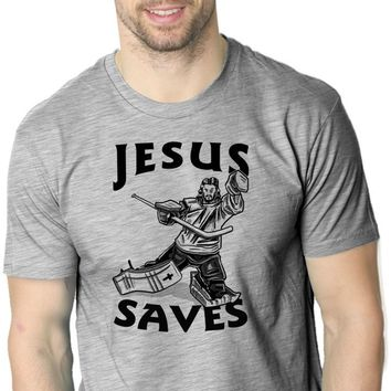Jesus Saves Hockey Goal T Shirt Funny Religious Sport Tee