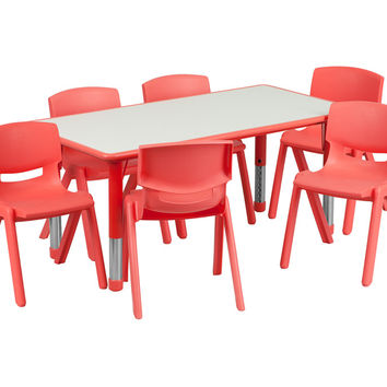 23.625''W x 47.25''L Adjustable Rectangular Red Plastic Activity Table Set with 6 School Stack Chairs