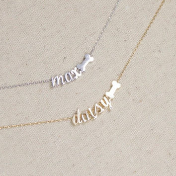 Dog Bone Necklace with Name, Pet Lover, Dog, Doggie Bone, Best Friends, Dog Lover, Pet Name, Animal Lover