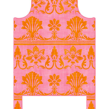 Wall Decal Headboard - Antique Flourish - Pink & Orange - Twin