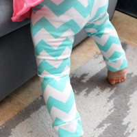 Baby Girl Leggings-Tiffany Blue Chevron