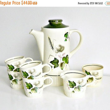 SALE Mid Century Royal Worcester Palissy Tea Set, Coffee Set, Sandon Rose, 1950s, Hand Painted Floral, English Coffee Set.
