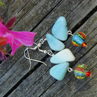Seafoam stone chips, Glass turquoise beads dangle earrings