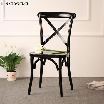 iKayaa Industrial Style Metal Kitchen Dining Chairs Stool Ergonomic Design For Dining Room