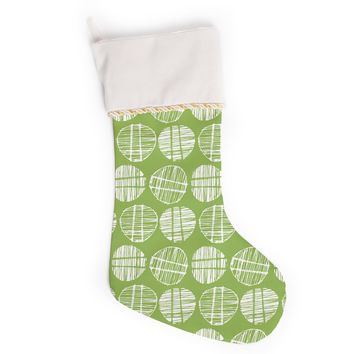 "Gill Eggleston ""Sketched Pods Green"" Green White Abstract Modern Digital Vector Christmas Stocking"