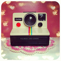 Working Vintage Polaroid Land Camera sx70 Instant Film Rainbow Stripe for Instagram Fans FREE SHIPPING to USA