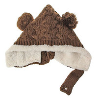 ECOSCO Baby Infant Boy Girl Knit Crochet Rib Pom Pom Winter Hat Cap Hood Warm (Brown)