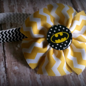 Superhero Bow and Headband Set Choose from Batman by theBOWrista