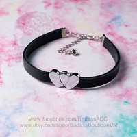 Black faux vegan leather silver heart straps choker collar - sexy rock punk lolita cosplay cute love