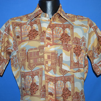 70s National Houses Sunset Disco Shirt Small