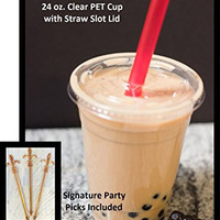 100 Sets 24 Oz Plastic Clear Cups with Flat Lids for Iced Coffee Bubble Boba Tea Smoothie