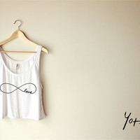 Women Cropped Tank Top-Infinity Love Tank Top