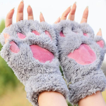 Ladies Winter Fingerless Gloves,Fluffy Bear Cat Plush Paw Claw Half Finger Glove,Soft Half Covered Women Female Gloves Mittens