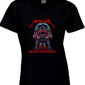 Metallica Never Surrender Man Glowing Cover  Womens T Shirt