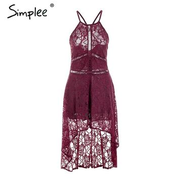 Simplee Halter hollow out white lace dress women Asymmetric sexy summer dress long 2018 Elegant retro party dress vestidos