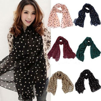 Fashion Girls Women Long Wrap Lady Shawl Polka Dot Chiffon Scarf Scarves Stole = 1957976964
