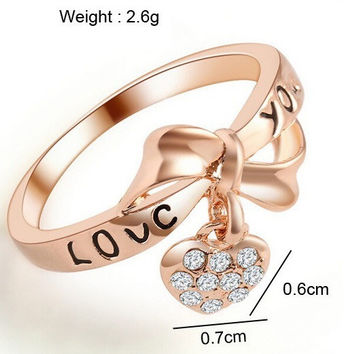 Inscribed 'Love You' Ring, Rose Gold Heart lovers ring