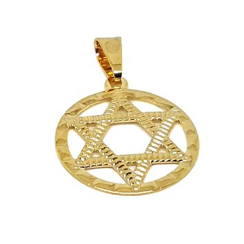 (1-2180-h7) Gold Overlay Star of David Pendant, 20mm.