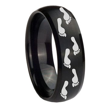 10MM Foot Print Brush Black Dome Tungsten Carbide Men's Ring