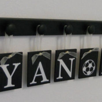 Sports Nursery Baby Name Hanging Wall Letters and 10 Wooden Peg Hanger Black A Gift for RYAN (Soccer Ball) ASHER