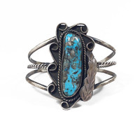 Vintage Blue Turquoise Cuff Bracelet in Oxidised Sterling Silver // Vintage Native American Silver Jewelry feather blue turquoise bracelet