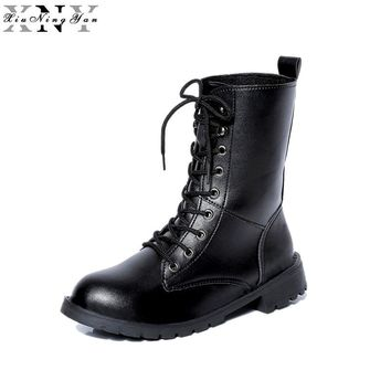 XiuNingYan Autumn Winter Rome Womens Round Toe Lace Up Punk Motorcycle Military Combat Riding Martin Ankle Boots Shoes Plus Size