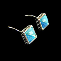 Two Tone Turquoise and Blue Glitter Earrings Silver Tone