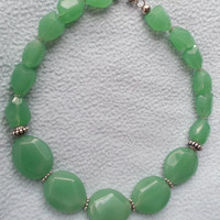 Free shipping - Green Statement Necklace - Chunky Necklace - Teardrop Necklace - Fall Fashion - Show Stoppers
