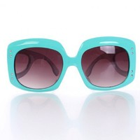 Aqua Blue Large Frame Sunglasses