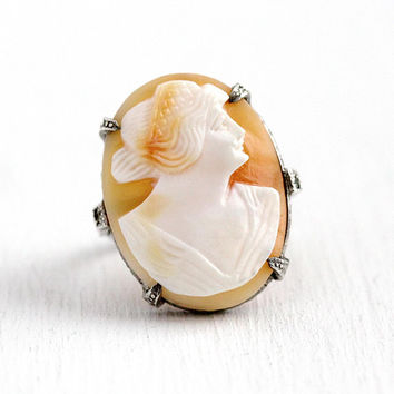 Vintage Cameo Ring - Art Deco Sterling Silver Large Genuine Carved Shell Statement - Huge 1930s Size 8 Milgrain Flower Lady Design Jewelry