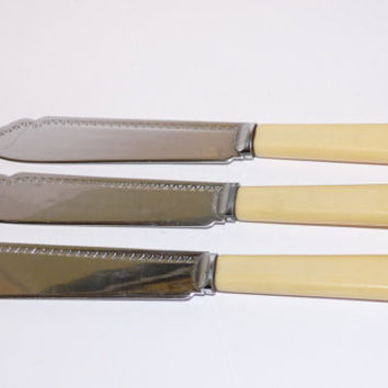 Vintage, Fish Knives x 3, Bone Handle, Engraved Pattern, Chrome plate, Sheffield, England, flatware, shabby chic, cottage chic