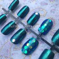 Simple Shimmery Little Mermaid nails with shell studs and iridescent glitters Japanese 3D Nail Art