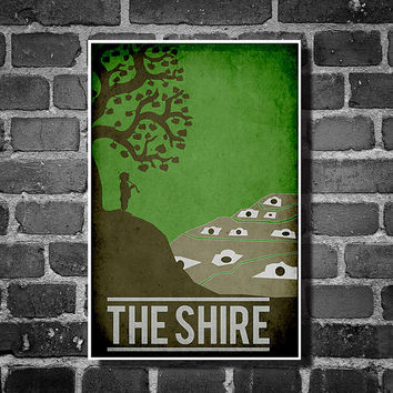 Lord of the Rings movie poster minimalist poster geekery art hobbit print the shire