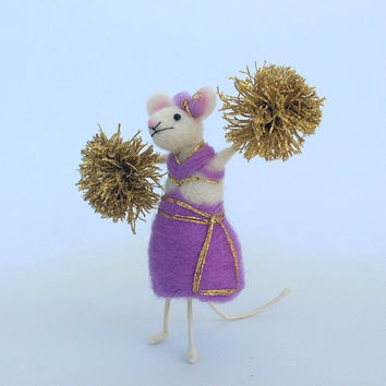 Cheerleader mouse Felt mouse Animal figurine Funny Gift Animal Cheerleader costume golden pompoms Waldorf doll Football Needle felt mouse
