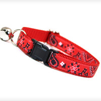 "Cat Collar - ""Lone Ranger"" - Western Red Handkerchief Bandana"