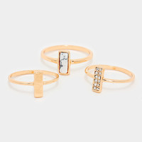 3 Piece Boho Rectangle & Natural Stone Ring Set - Gold / White