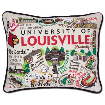 Louisville University Embroidered Pillow