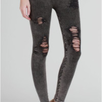 Nikibiki Vintage Modal Destroyed Jeggings - Charcoal