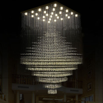 Modern Large Engineering Crystal Chandelier Penthouse Villa Property Grade Staircase Crystal Lamps Big Luxury Crystal Chandelier