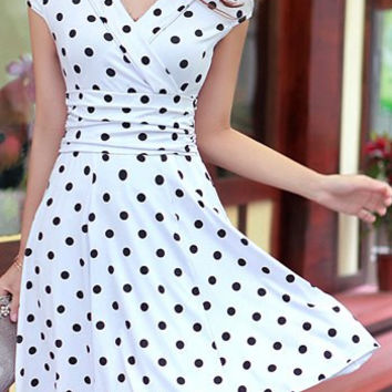 White Polka Dot V-Neck Short Sleeve Mini Dress