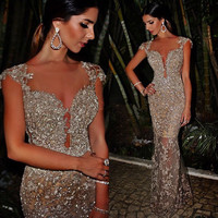 Bling Bling New Long Evening Dress Scoop Neck Cap Sleeve Floor Length Mermaid Sequined Beading Tulle Prom Dresses 2016 Vestidos