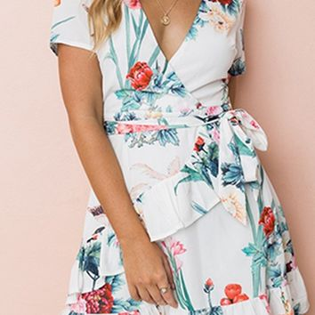 Something Sweet White Green Pink Yellow Floral Pattern Short Sleeve V Neck Cross Wrap Ruffle Casual Mini Dress