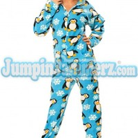 Blue Penguins Hooded Adult Onesuit