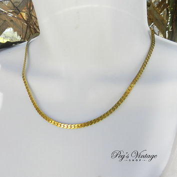 Sleek Herringbone Gold Tone Chain Necklace, Elegant Classy Vintage Costume Jewelry