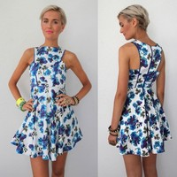 WHITE BLUE FLORAL CUT IN ARM PLEATED SKATER RACE DRESS 8 10 12