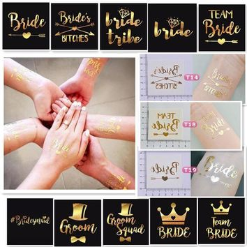 CREYONHS 1 X Gold Bride Temporary Tattoo Bachelorette Party Accessories Bridesmaid Bridal Shower Wedding Decoration Photographs