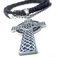 Handmade Braided Cord Necklace  Celtic Cross by SherryKayDesigns
