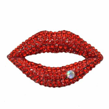 Sexy Crystal Rhinestone Red Lips Brooch Pin Women Garment Fashion Jewelry