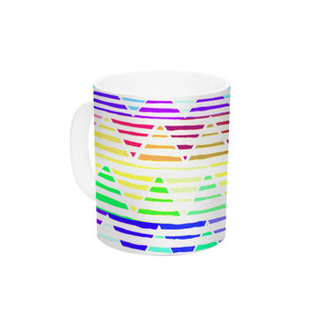 "Sreetama Ray ""Stripes Cushion"" Rainbow Chevron Ceramic Coffee Mug"
