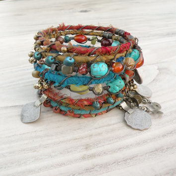 Silk Road Gypsy Bangle Stack - Olive, Rust, Turquoise - 9 Bohemian Tribal Bracelets,  Silk Wrapped and Beaded